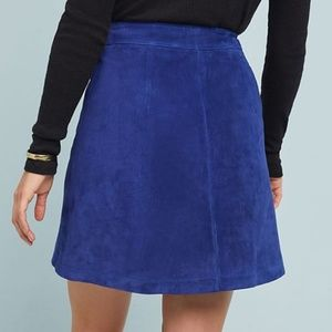 Anthropologie Skirts - Anthropologie - Blue Suede button front skirt